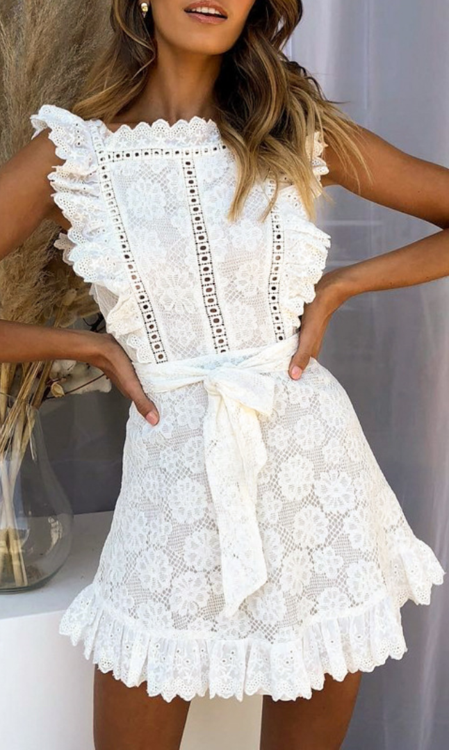 White Crochet Lace Waist-Tie Dress