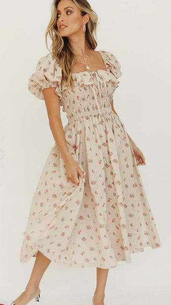 Delicate Beige Floral Smocked Dress