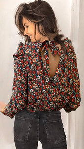 Black Floral Back Neck-Tie Top