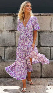 Purple Floral Withdraw Maxi Dress