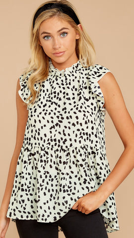 White Leopard Peplum Sleeveless Top