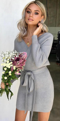 Gray Bowtie Surplice Knit Dress