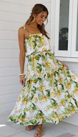 Green Palm Leaves Print Slip Dress