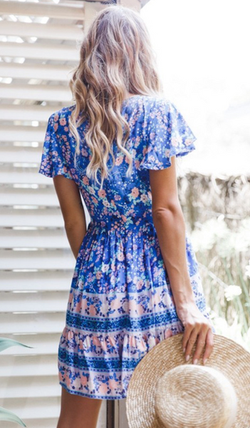 Royal Blue Floral Skater Dress