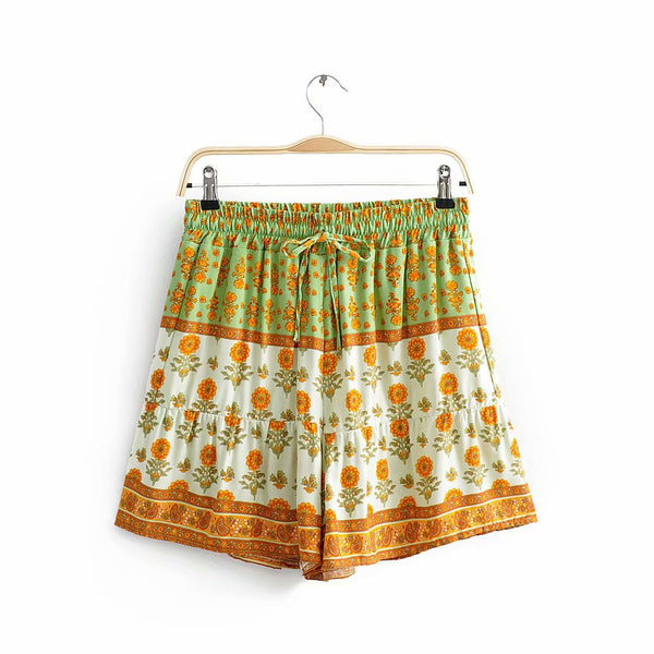 Green Boho Floral Withdraw Shorts