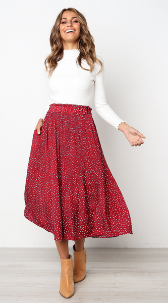 Red Polka Dot Maxi Skirt