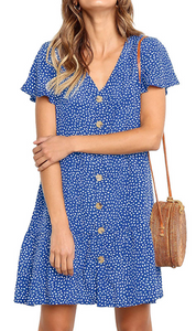 Royal Blue Dot Button Up Short Sleeve Dress