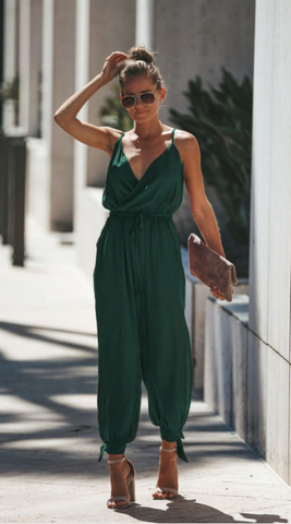 Green Surplice V Neck High Slits Jumpsuits