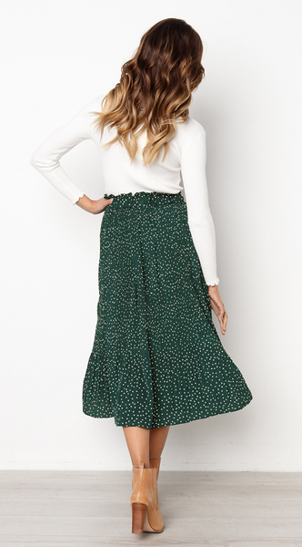 Green Polka Dot Maxi Skirt