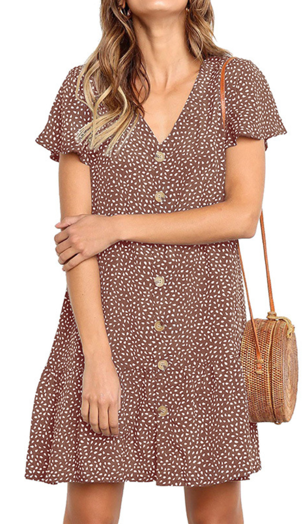 Brown Dot Button Up Short Sleeve Dress