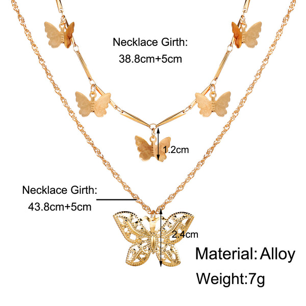 Butterfly Pendent Duet-Layered Necklace