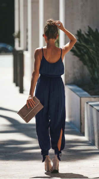 Navy Surplice V Neck High Slits Jumpsuits
