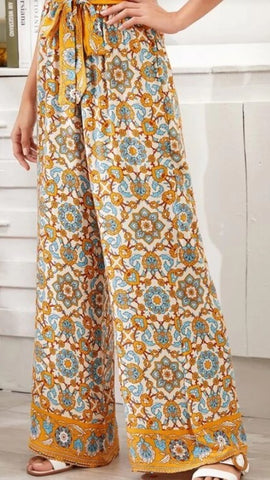 Yellow Madala Floral Wide Leg Palazzo Pants