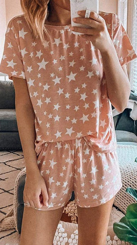Coral Star Tee and Shorts Matching Sets