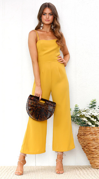 Yellow Cami Wide-Leg Jumpsuits