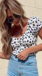 Navy Floral Smocked Crop Top