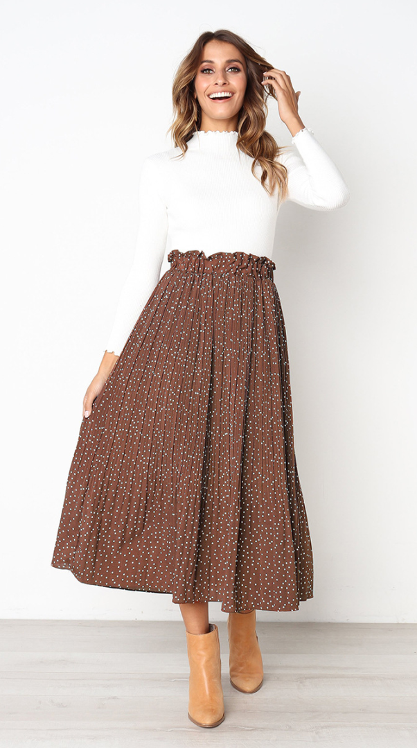 Coffee Polka Dot Maxi Skirt