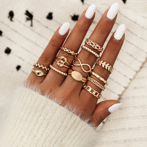 Golden Leaves Pattern 13 PCS Ring Set