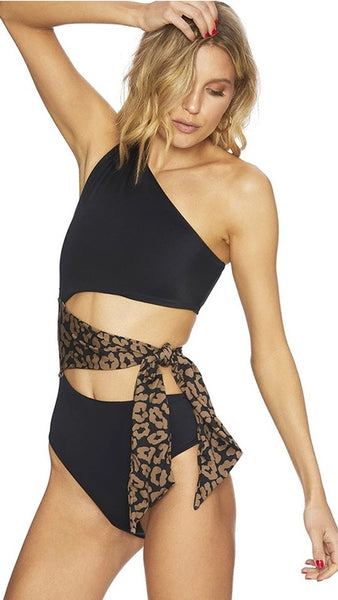 Black One-Shoulder Cutout Swimsuit