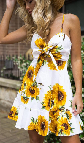 Sunflower Bowtie Mini Dress