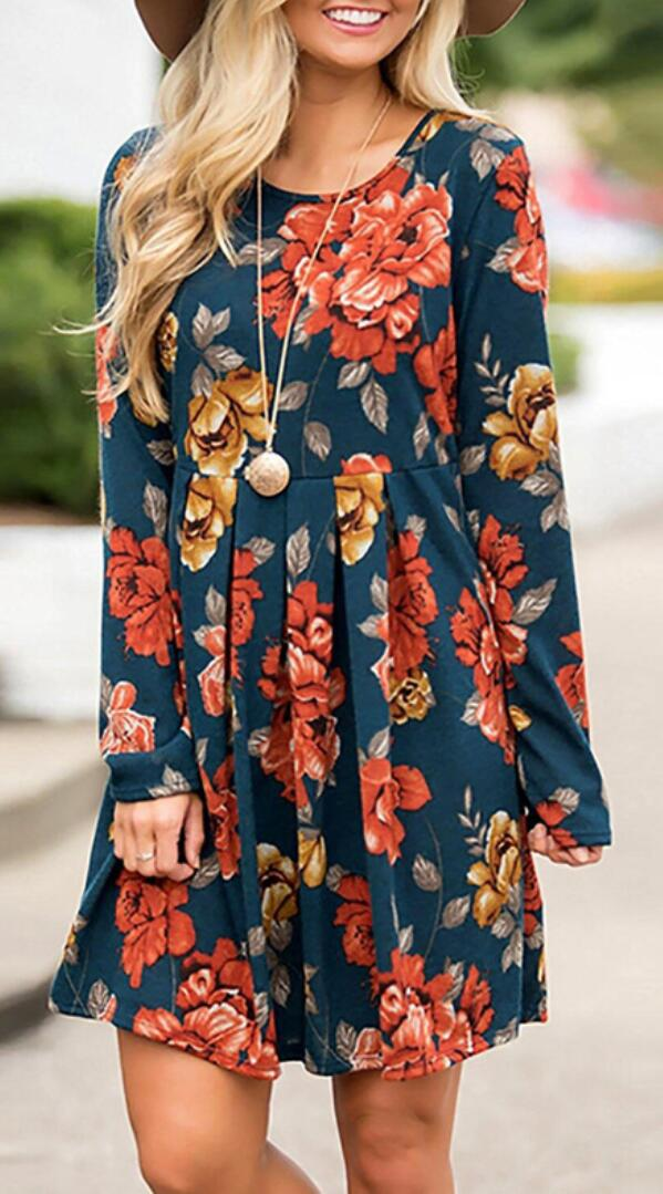 Turquoise Floral Pleated Long Sleeves Dress