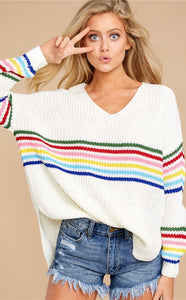 White Slouchy Rainbow Stripe Loose Pullover Sweater