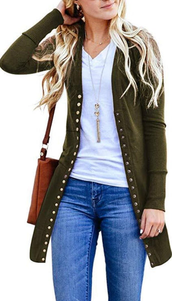 Olive Green Basic Button Down Knitwear Long Cardigan