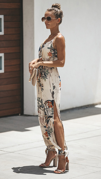 White Floral Surplice V Neck Jumpsuits