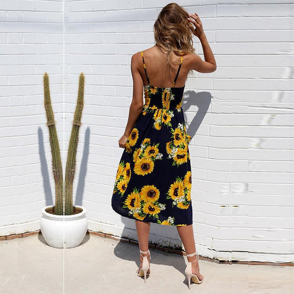 Navy Sunflower Cami Long Dress