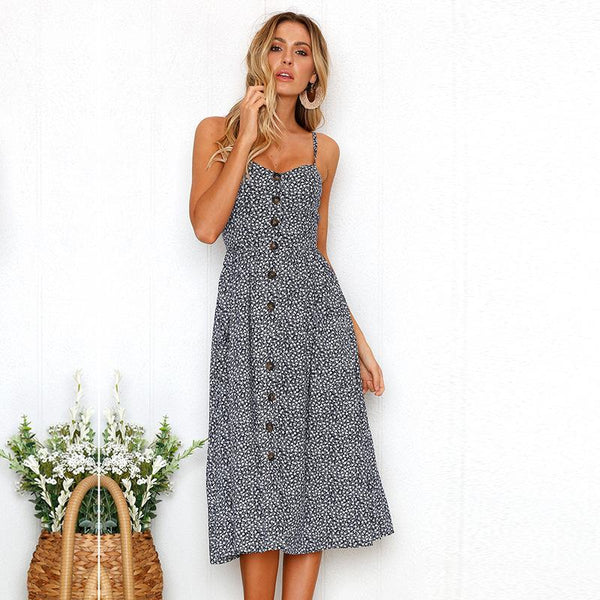 Navy Dainty Floral Cami Long Dress