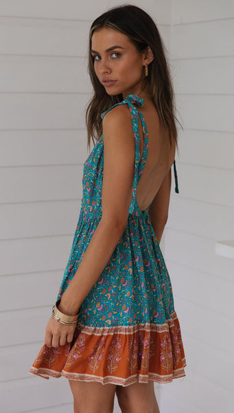 Turquoise Floral Slip Mini Dress