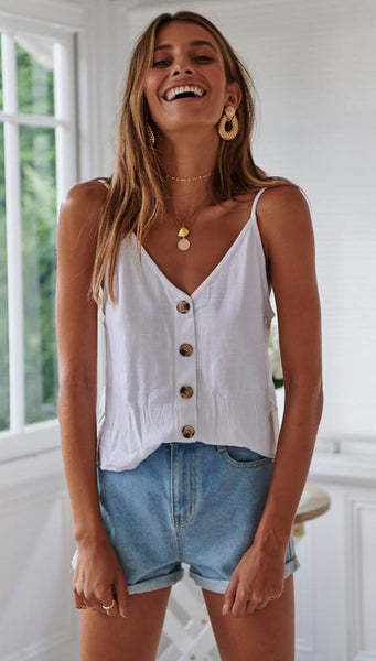 White Button Down Camisole