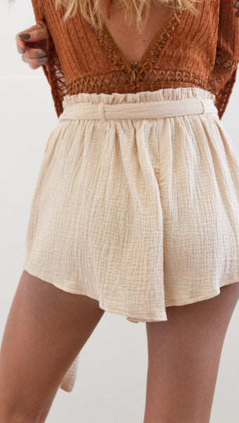 Beige Withdraw Linen Shorts