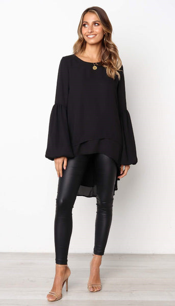 Black High Low Flare Chiffon Shirt