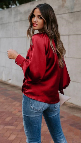 Red Blouson Sleeves Satin Top