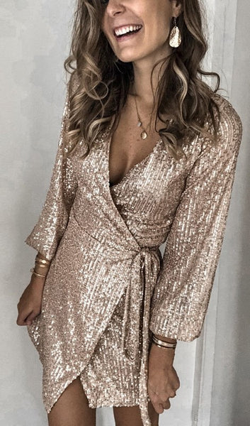 Golden Sequined Surplice Wrap Dress