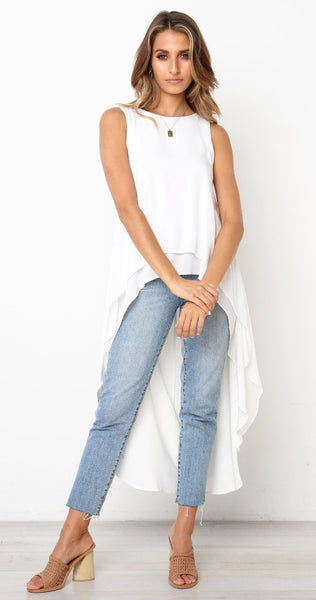 White Sleeveless High Low Tunic Top