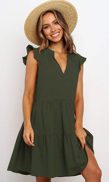 Olive Green Cap Sleeves Loose Dress