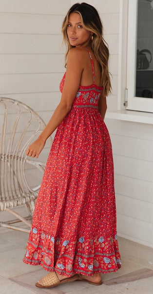 Red Floral Spaghetti Straps Rayon Dress