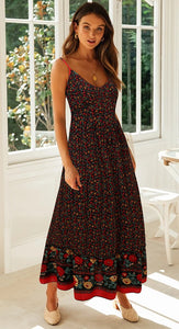 Black Floral Spaghetti Straps Rayon Dress