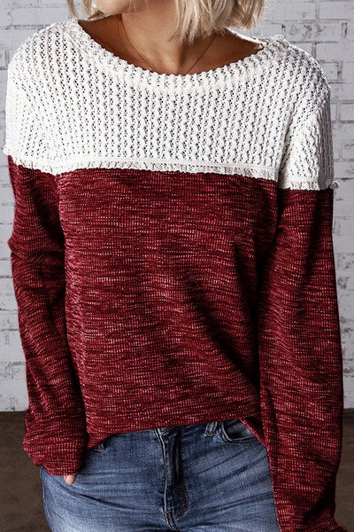 Red White Crochet Knit Paneled T-shirt