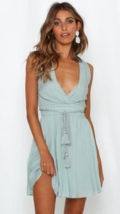 Aqua Withdraw Backless Surplice Dress