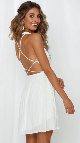 White Withdraw Backless Surplice Dress