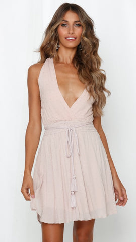 Pink Withdraw Backless Surplice Dress