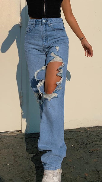 Deep Blue Destroyed Jeans