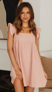 Pink Square Neckline Pockets Dress