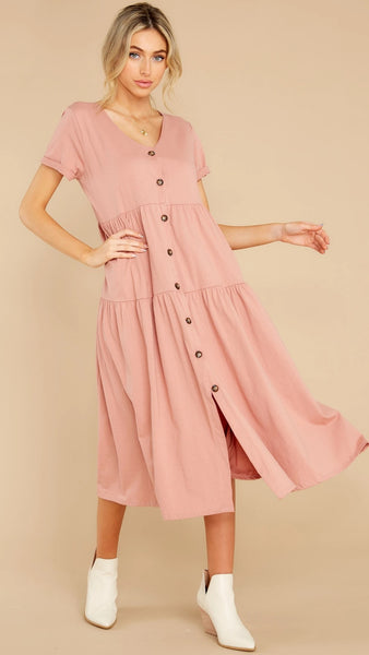Pink Button Down Long Dress