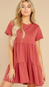 Red Short Sleeves Babydoll Dress