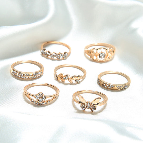 Butterfly Bejeweled Golden 7 PCS Ring Set