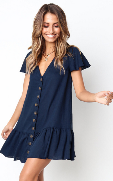 Solid Button Up Short Sleeve Dress